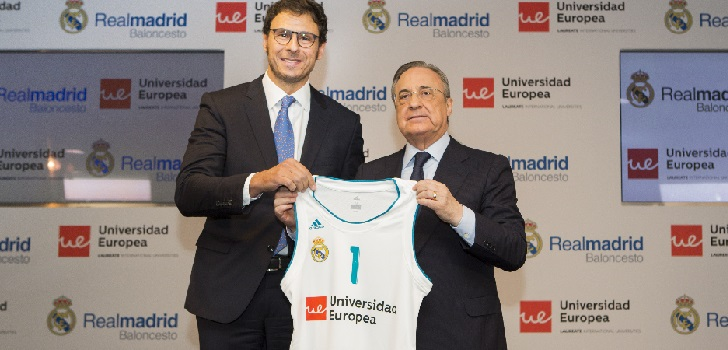 El Real Madrid confirma el patrocinio de Universidad Europea en la camiseta de baloncesto.